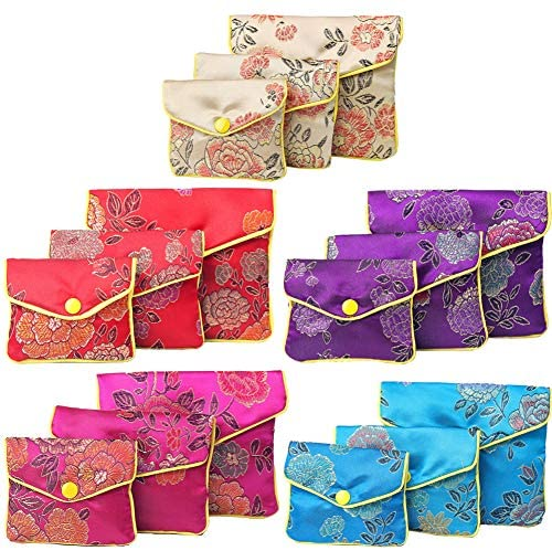 Jewelry Purse,15pcs Jewellery Silk Purse Pouch Gift Bags Chinese Traditional Brocade Embroidery Pouch Coin Purse with Zipper Snap Button for Women Girls Jewelry Storage Wedding Gift Package(5 colors)
