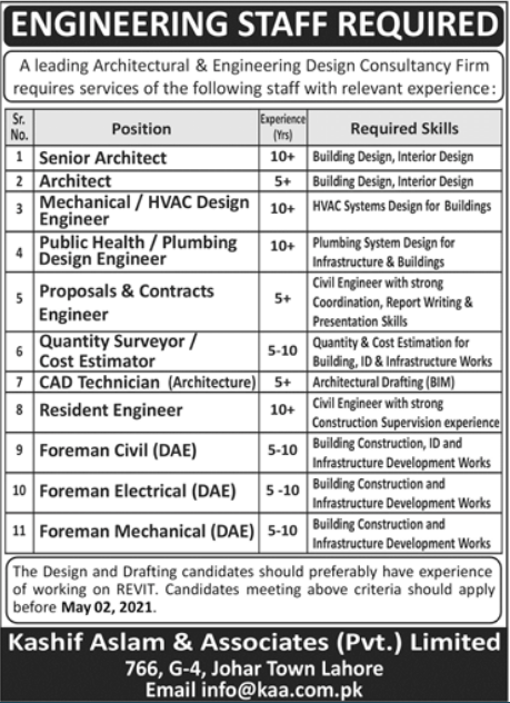 Kashif Aslam and Associates Private Limited Jobs 2021