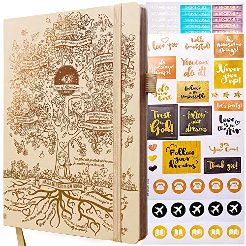 Law of Attraction Planner – Undated Deluxe Weekly, Monthly Planner, a 12 Month Journey to Increase Productivity & Happiness – Life Organizer, Gratitude Journal, and Stickers