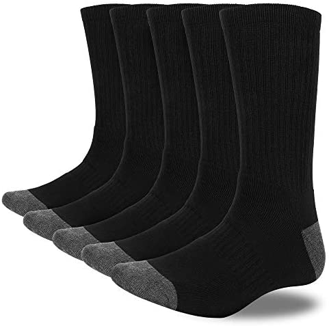 MOSOTECH Mens Socks, 5 Pairs Sports Socks for Running Training Walking Hiking Cycling – Thicken Cushioned, Arch Support, Crew Length, Size 7-12