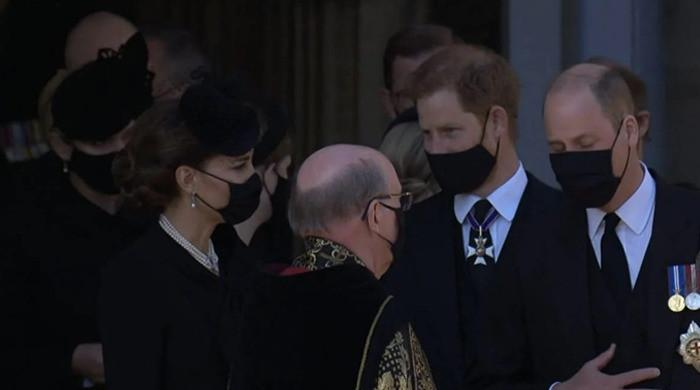 Prince Harry talks to Kate Middleton and brother William after Prince Philip's funeral