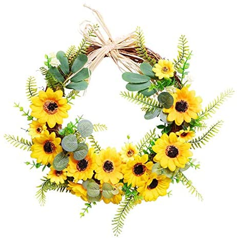 Purplelove Bee Festival Garland, Artificial Yellow Sunflower Wreath Decorative Fake Flower Wreath Rings Spring/Summer Wreath for Home Front Door Wall Wedding Holiday Decor,Party Spring Decoration