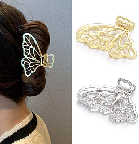 Runmi Hair Claw Clips Butterfly Hair Clips Metal Hair Barrette Claw Large Hair Claws Hair Accessories for Women and Girls (2PCS)