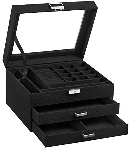 SONGMICS Jewellery Box, 3-Tier Velvet Jewellery Display Case and Organiser with Clear Glass Lid, Varying Compartments for Necklaces, Bracelets, Rings, Lock and Key, Black JBC158B01