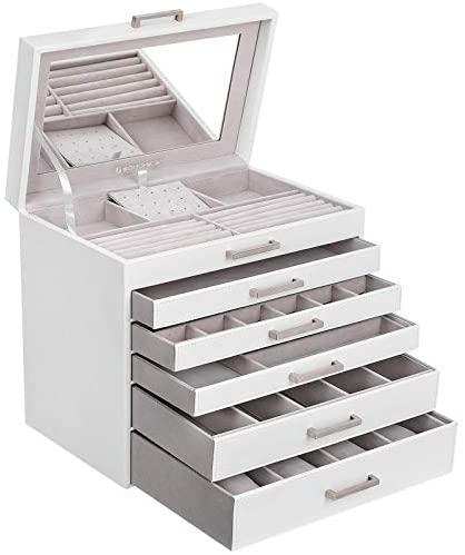SONGMICS Jewellery Box, Jewellery Organiser, Large Jewellery case, with 6 Layers and 5 Drawers, White JBC138