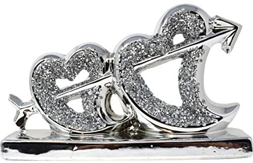 Silver Heart Sparkle Ornament Bling Crushed Diamond Gift | CRYSTALLIZED Heart Crossed by Arrow |Handmade Craft | Crushed Diamond Display |Gift Present for all occasion, Home Decor