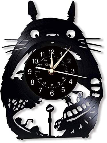 Smotly Totoro Vinyl Wall Clock, LED 7 Color Night Lamp Retro Wall Clock, Living Room, Kitchen, Unique Gifts Handmade Home Wall Decor,without light