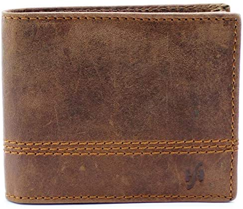 StarHide Mens Essentials Wallet RFID Safe Contactless Security Card Protection Distressed Hunter Leather Billfold Purse 1150 (Brown)