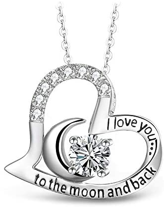 T400 Sterling Silver Necklace I Love You to The Moon and Back White Cubic Zirconia Moon Heart Pendant Birthday Gift for Women Girls 18″+2″ Chain