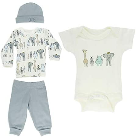 Tiny Baby Boys Layette Clothing Set 4 Piece Starter Outfit Safari Animals