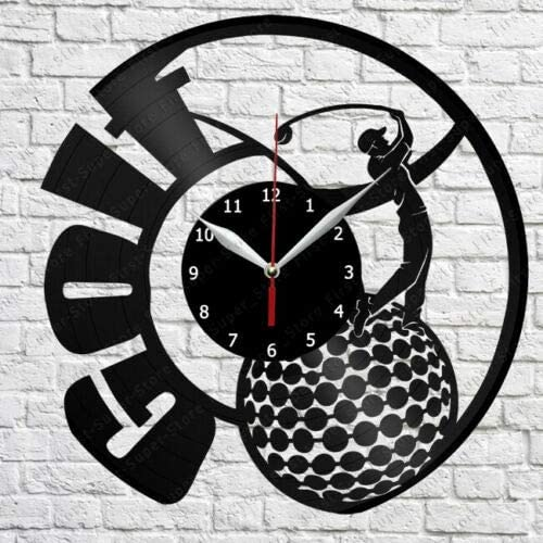 XDG Golf Vinyl Wall Clock LP Record Home Decor Handmade Art Personality Gift 3 (Size: 12 inch, Color: Black)