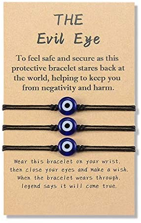 YELUWA 3Pcs Evil Eye Bracelets for Women Men Good Luck Jewelry Nazar Kabbalah Protection Couple Friendship Family Ojo Turco Strings Lucky Charm Gifts for Mother's Day