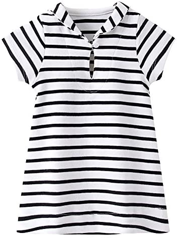 ZHUANNIAN Baby Girls Striped Dresses Short Sleeve Sailor Collar Summer Outfit Clothes