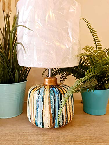 hand painted table lamp, ceramic table lamp, home décor, housewarming gift, house gift, bedside lamp, table lamp, ceramic, blues, bronze