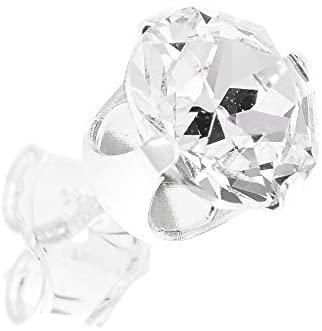 pewterhooter® Men's single 925 Sterling Silver stud earring. Sparkling Diamond White crystal from Swarovski. Gift box. Made in the UK. Hypoallergenic & Nickle Free for Sensitive Ears.