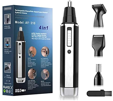 Nose and Ear Hair Trimmer-Professional USB Rechargeable Nose Hair Trimmer,4 in 1 Painless Nose Hair Trimmer for Men and Women,Water Resistant Dual Edge Blades for Easy Cleansing