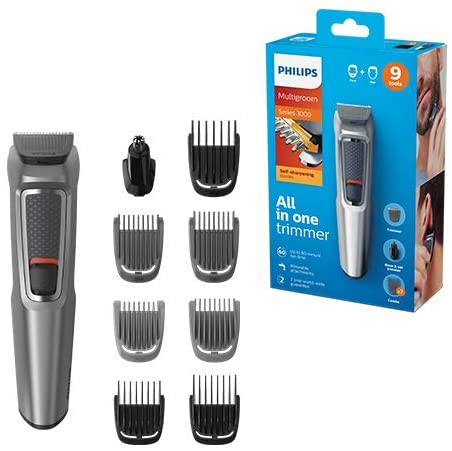 Philips 9-in-1 All-In-One Trimmer, Series 3000 Grooming Kit for Beard & Hair with 9 Attachments, Including Nose Trimmer, Self-Sharpening Blades, UK 3-Pin Plug – MG3722/33