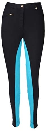 Discount Pet Accessories HORSE RIDING LADIES SOFT STRETCHY JODPHURS/JODHPURS JODS BLACK WITH PEACOCK BY