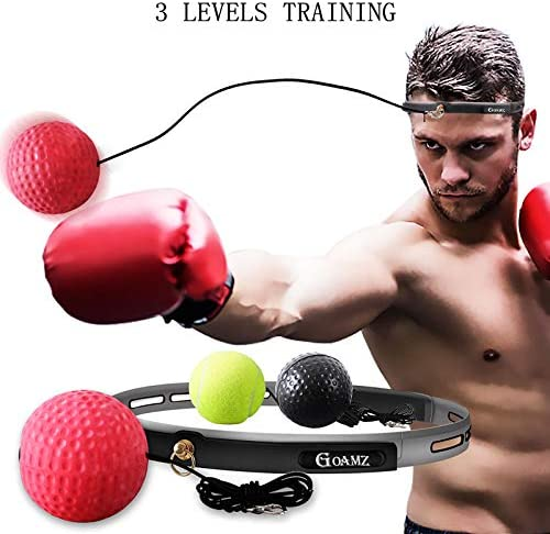 GOAMZ Boxing Reflex Ball React Training Speed Fast Fight Ball Punching Speedball Kit with Headband Portable 3 Level for Adult Kids (Black+Green+Red)