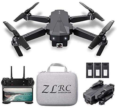 SG107 Foldable Mini Drone with Camera 4K HD Indoor RC Quadcopter APP Control with Headless Mode 360° Rotation Trajectory Flight for Adults Kids Beginners Great Gift Toy with Bag 3 Batteries
