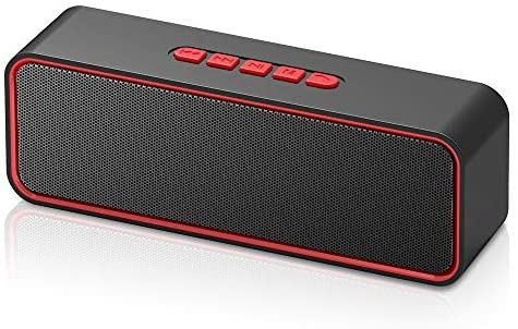 Sonkir Portable Bluetooth Speaker, TWS Bluetooth 5.0 Wireless Speaker with 3D Stereo Hi-Fi Bass, Built-in 1500 mAh Battery, 12H Playtime (Red)