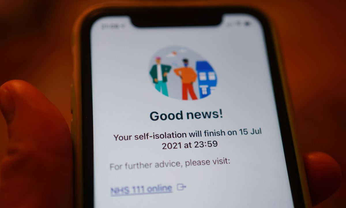 A message from the NHS coronavirus contact tracing app - informing a person that their self-isolation period will finish soon