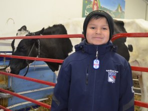 For Oakleigh Yesno, he said the day was 'pretty cool, I've never seen anyone milk a cow before.' Along with other students in his class, he learned that there are different ways to make pizza. (Clare Bonnyman/CBC)