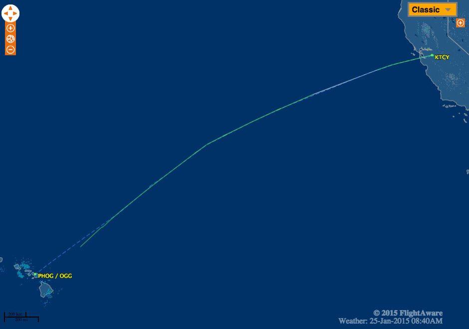 Mapa percurso Cirrus KTCY -  Hawai PHOG
