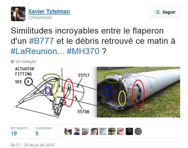MH370 Semelhanças peça Twitter