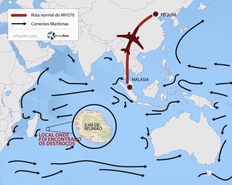 Infográfico tragetoria e correntes maritimas do voo MH370