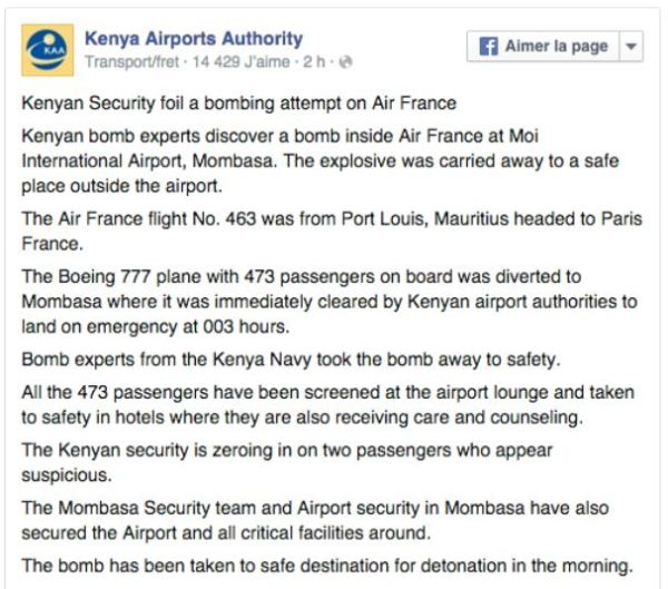 Kenya Airports Authorithy bomb