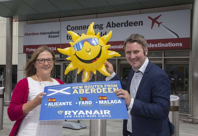 NEW ROUTES LAUNCHED BY RYANAIR FROM ABERDEEN AIRPORT TO MALAGA AND ALICANTE. PIC OF ABERDEEN INTERNATIONAL AIRPORT MD CAROL BENZIE WITH ROBIN KIELY, RYANAIR'S HEAD OF COMMUNICATION PICTURED AT THE LAUNCH. PIC ISSUED ON BEHALF OF ABERDEEN INTERNATIONAL AIRPORT
