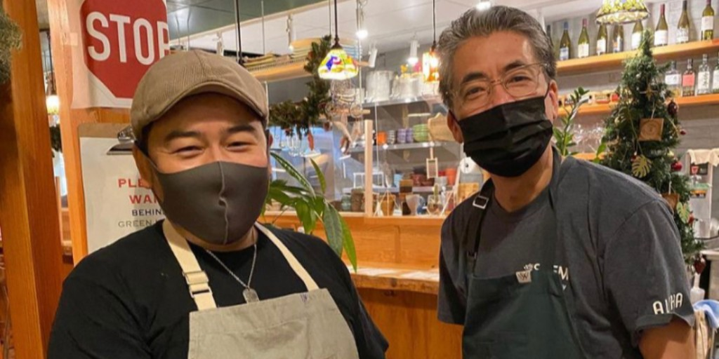 Chef Tatsuya and Chef Yoshiaki  Smile after open business in BC