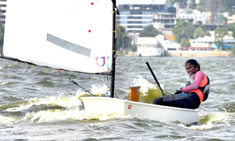 Jhansi Priya Laveti of Hyderabad is in the lead at the Monsoon Regatta National Ranking Championship