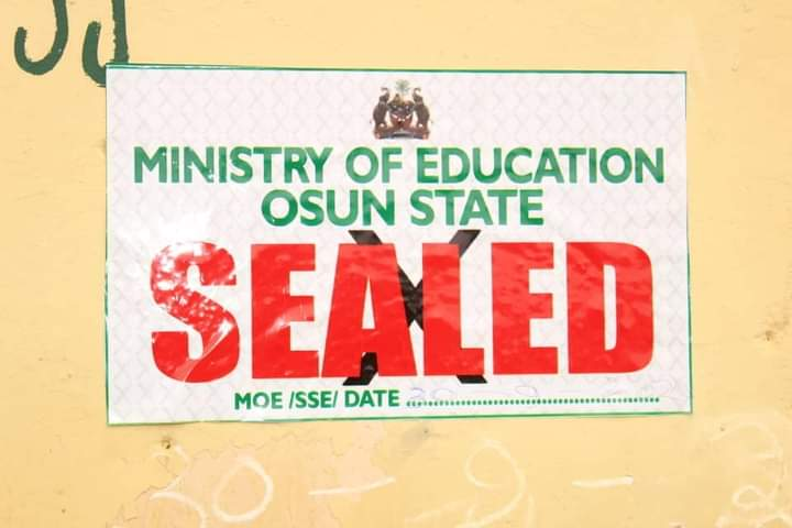 Osun govt seals 4 schools over non-compliance with COVID-19 protocols, other standards