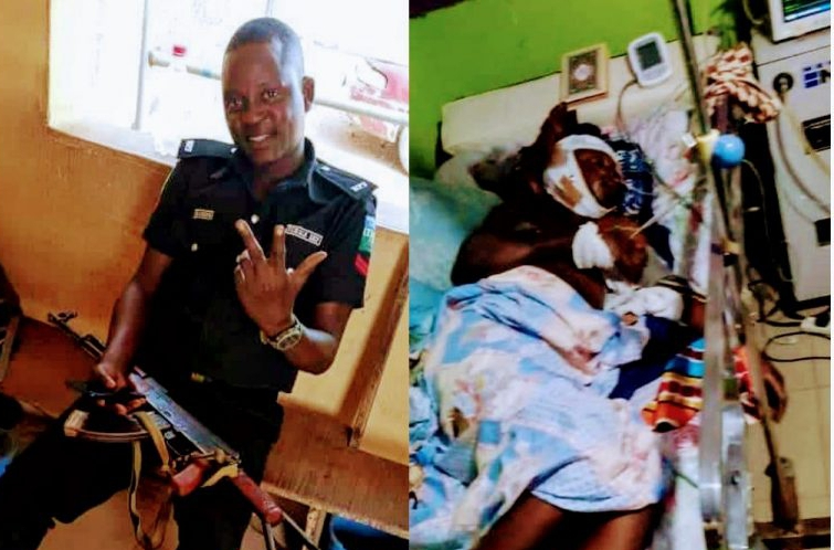 The deceased police corporal before his death on hospital bed