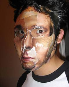 Halloween costume paperface