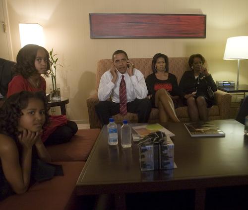 Barack Obama backstage on Election Night