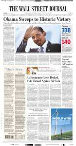 Wall Street Journal Obama Election Victory Newspaper