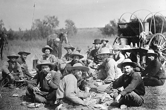 Cowboys eating