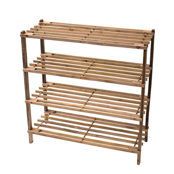 「マルチラック 4段 BR」価格:1,780円/サイズ:W63.6×D26×H67cm/植物のディスプレイや、靴の収納などに最適な木製ラックです。