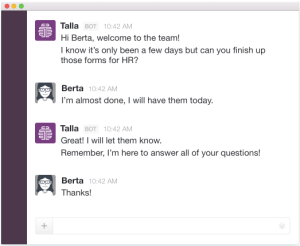"Talla intelligence assistant for workplace and HR needs introduced ""task assistant"" to help Slack users manage to-do lists"