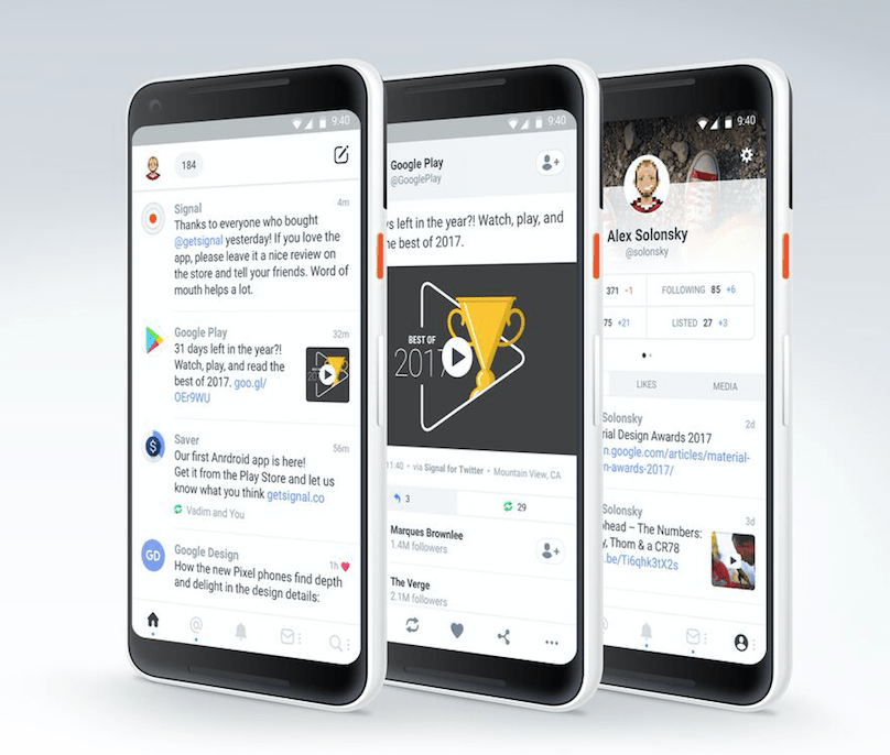Signal is a Twitter app for Android that provides users with a customizable, chronological, content-driven timeline.