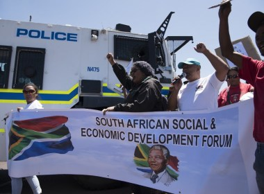 South African steel workers protest planned closure of ArcelorMittal's plant