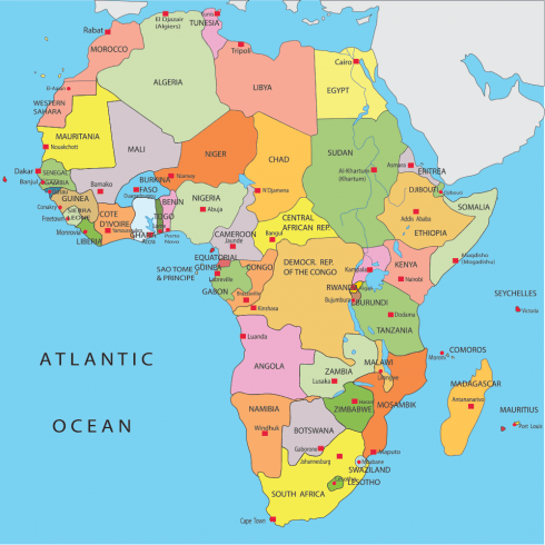 Africa; Country, Cities, Provinces, States, Regions, Capitals.