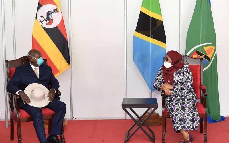 President Yoweri Museveni meets President Samia Suluhu Hassan in Tanzania