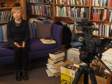 Professor Janice Peck speaks with members of News Corps for a documentary on Wednesday, March 4, 2015. Professor Peck serves as the associate dean for graduate studies and research in the CMCI. (Photo/Roxann Elliott)