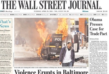 Look To The Right Of The Burning Police Car: All Obama Cares About Is Trade Deals For His Plutocratic Pets