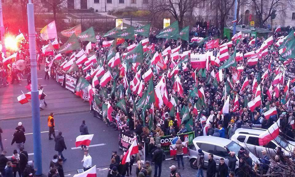 The ultra-nationalist All-Polish Youth organization marching in November 2015. (Photo credit: Lithium1989/Wikimedia Commons)