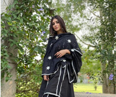 Mouni Roy Looks Magnificent in Black Kurta and Tulip Pant Combo